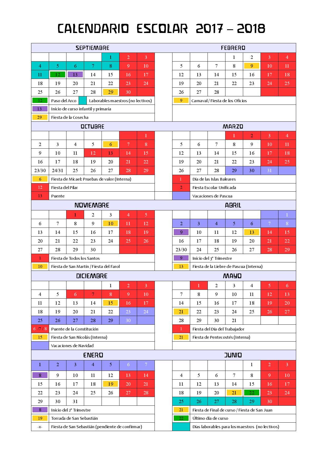 Escolasofia Calendario Escolar 2017-18