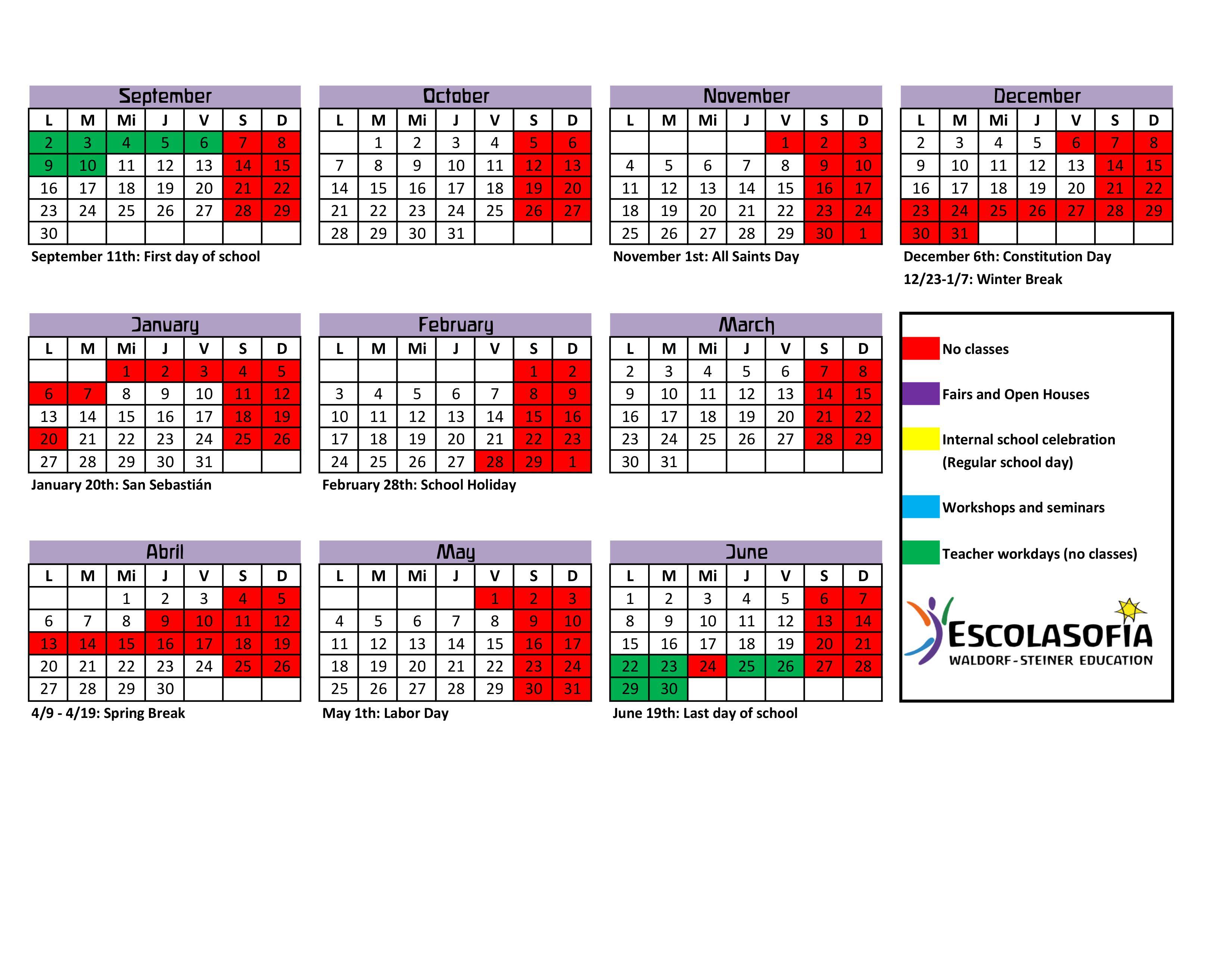 Calendario 18.Calendario Escolar 2019 20 Ingles Waldorf Palma